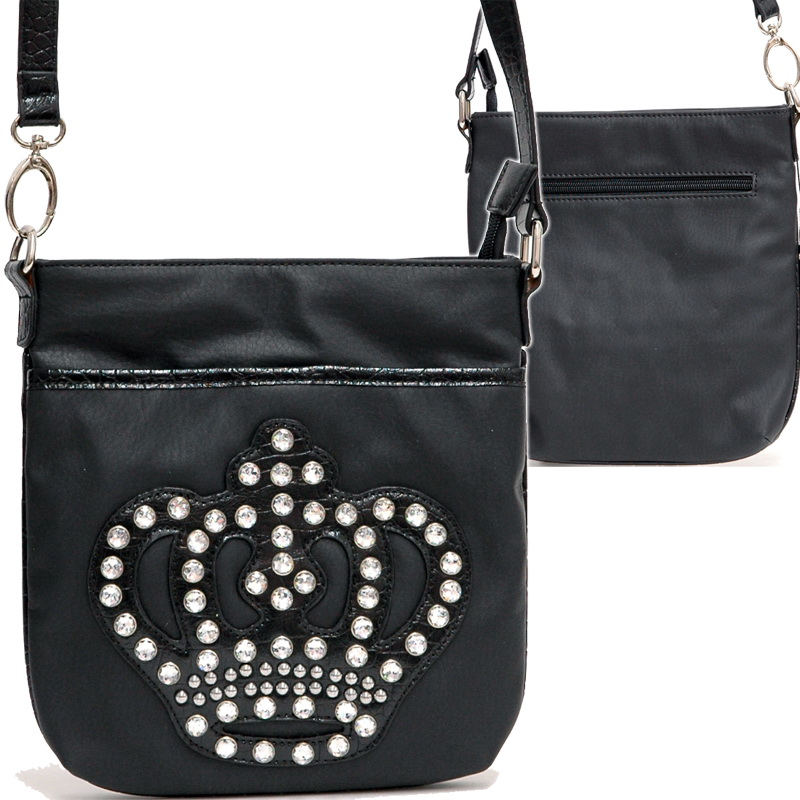 Rhinestone Messenger Bag with crown accent