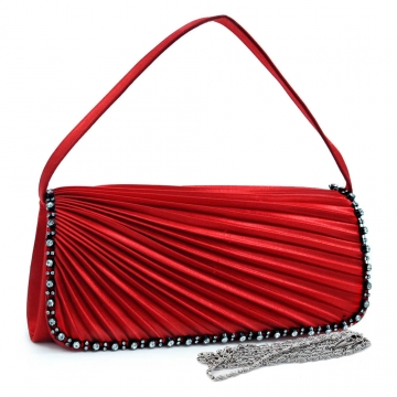 Pleated evening bag clutch w/ rhinestone trim