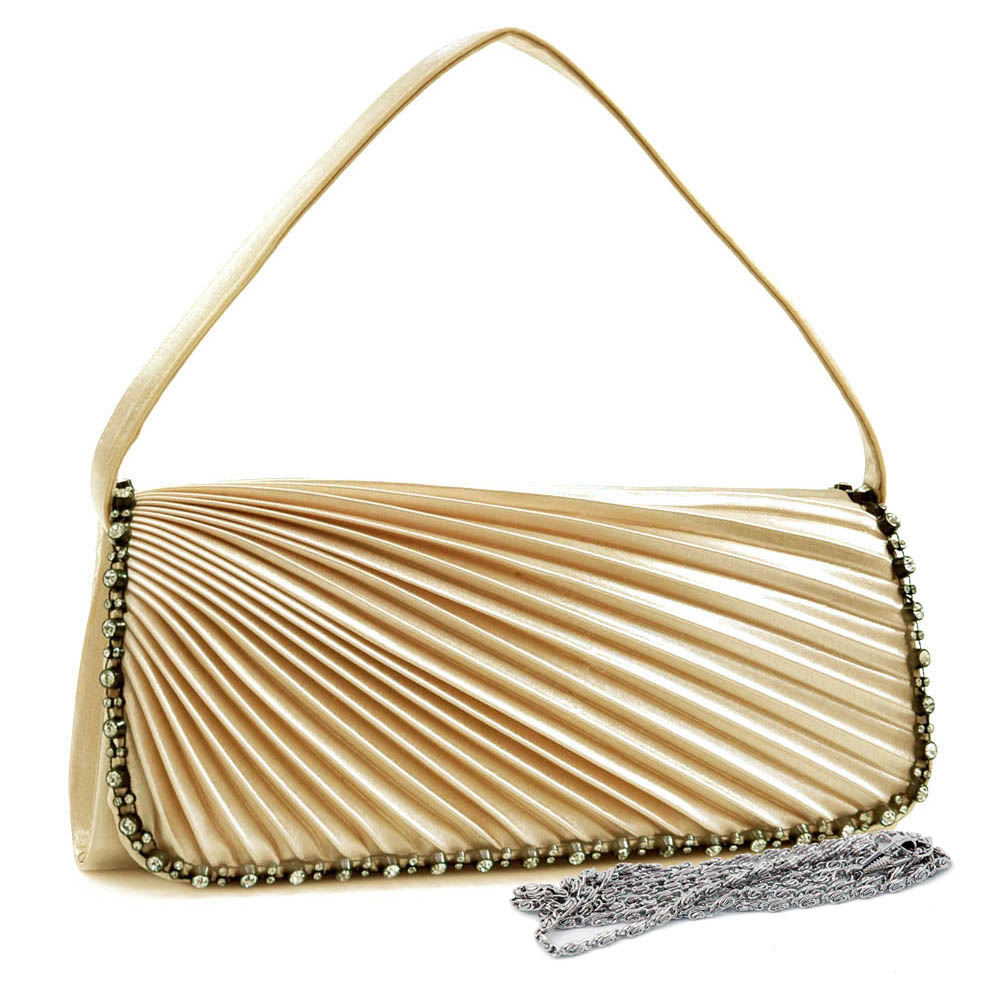 Rhinestone Trim Pleated Clutch