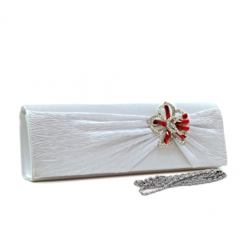 Evening bag clutch w/ floral rhinestone decoration