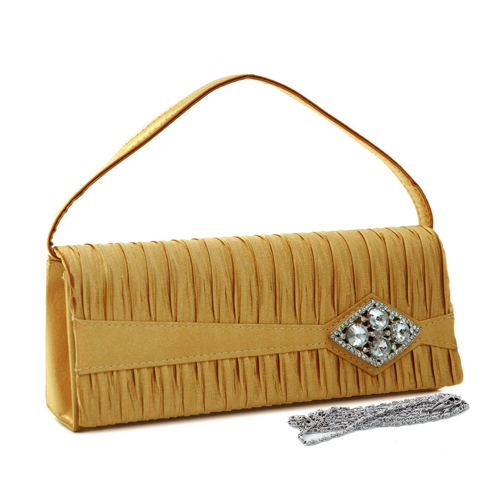 Rhinestone Brooch Pleated Evening Bag