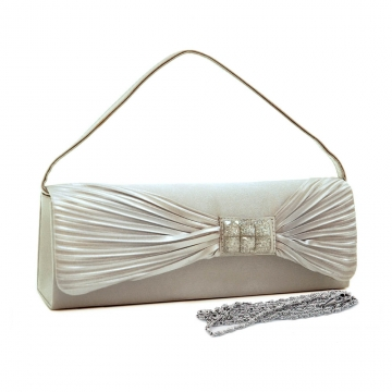 Pleated bow flap evening bag/ clutch with glitter square accents