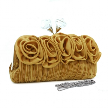 Dasein Pleated Evening Bag / Clutch with Rosettes & Large Jeweled Kiss Lock-Gold