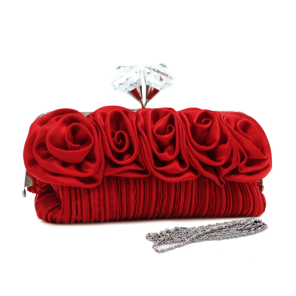 Pleated evening bag/ clutch with rosettes & large jeweled kiss lock