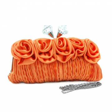Dasein Pleated Evening Bag / Clutch with Rosettes & Large Jeweled Kiss Lock-Orange