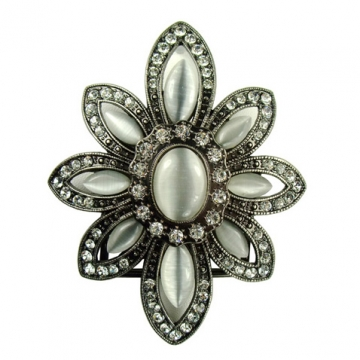 Rhinestone/ cateye stone flower belt buckle