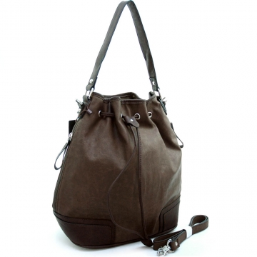 Dasein Designer Inspired Soft 2-tone Drawstring Hobo Handbag-Brown/D. Brown
