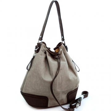 Dasein Designer Inspired Soft 2-tone Drawstring Hobo Handbag-Grey/Dark Brown
