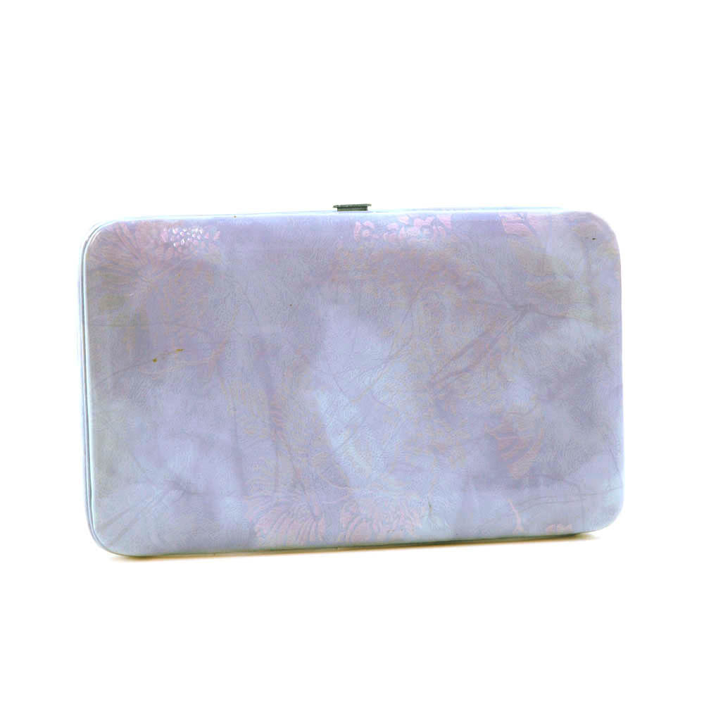 Extra deep 2 tone frame wallet with iridescent floral design