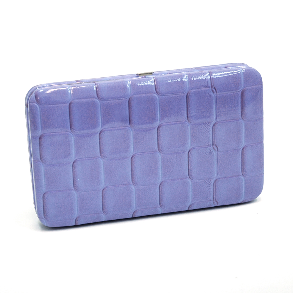 Extra Deep 2 Tone Frame Wallet with Square Embossed Pattern