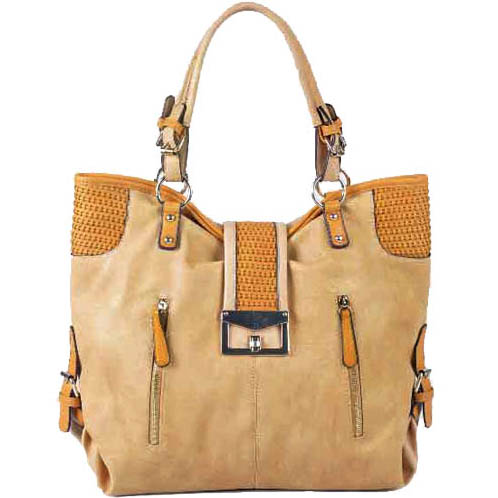 Miss Unipue New Women's Large Fashion Tote Bag with Stitch and Stud Accents - Tan