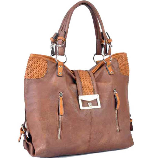 Miss Unique Women's Soft Large Fashion Tote Bag with Woven Accent - Brown