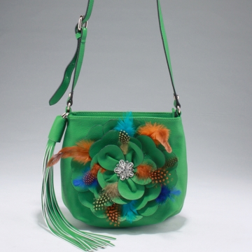 Alyssa Stylish Crossbody Bag with Floral Feather Accent & Rhinestone Ornament-Green