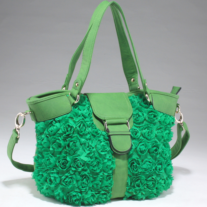 Decorative Rosette Front Tote Bag with Flap Over Magnetic Snap Closure - Green