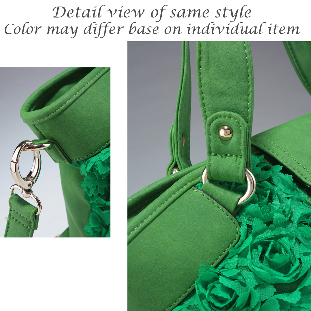 Decorative rosette front tote bag with flap over magnetic snap closure
