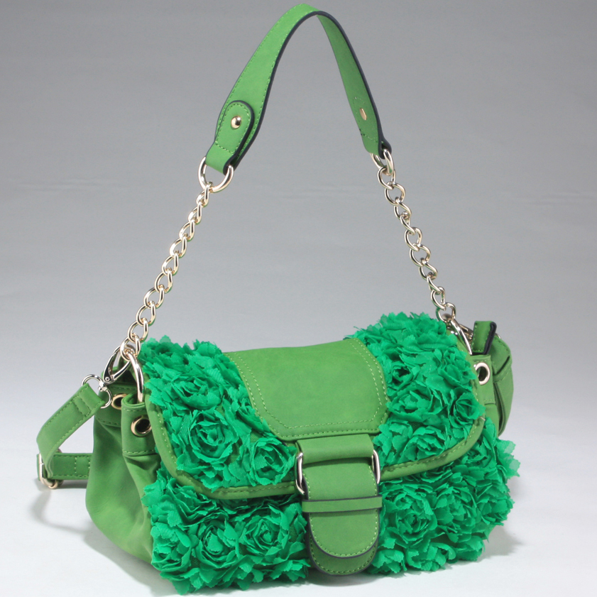 Decorative Rosette Satchel Bag with Flap Over Magnetic Snap Closure - Green