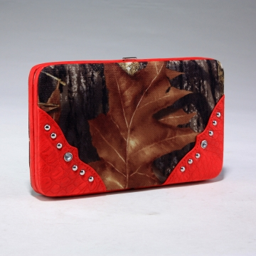 Camouflage frame checkbook wallet with stud accents
