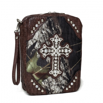 Mossy Oak Camouflage Print Bible Cover with Croco Trim and Studded Cross Emblem-Coffee