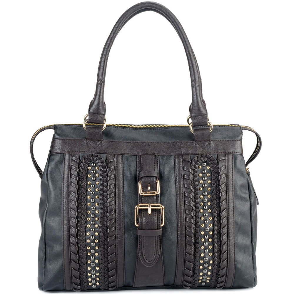 New Women's Large Fashion Tote Bag with Stitch and Stud Accents - Black
