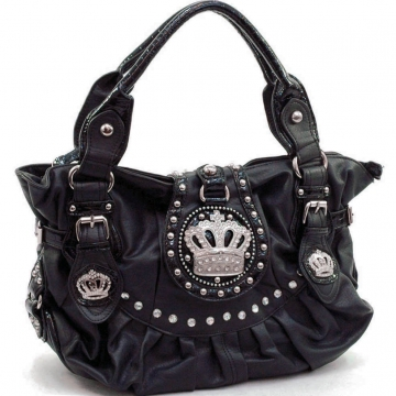 Studded shoulder bag w/ rhinestone crown