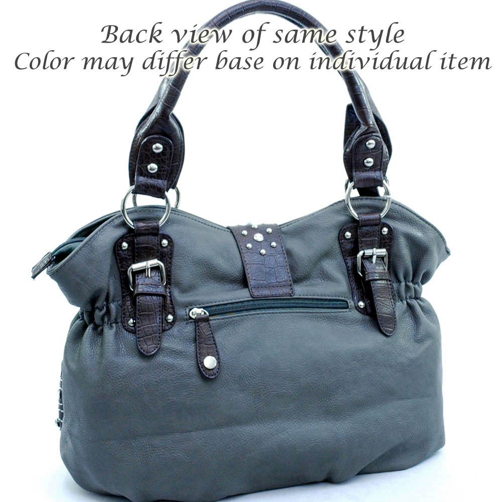 Designer rhinestone buckle shoulder bag Grey