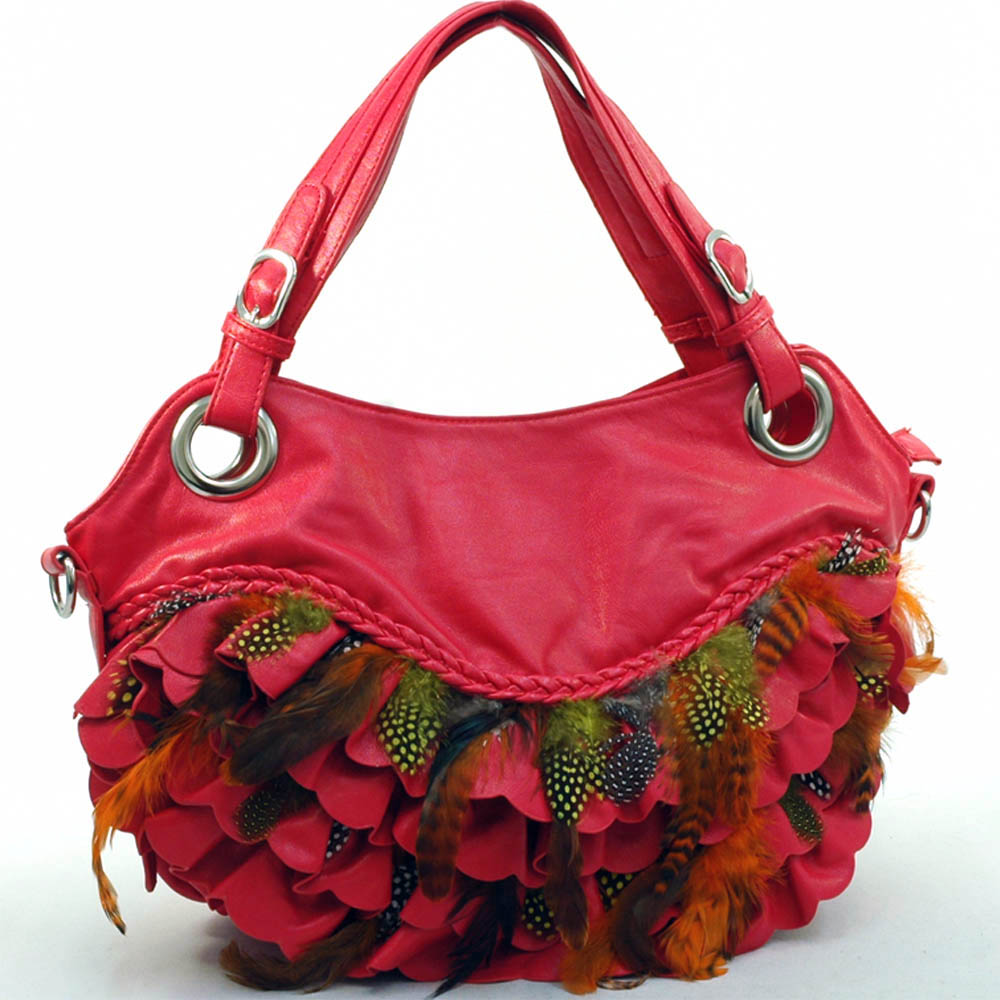 Ustyle Trendy Hobo with Braided Trim & Feather and Ruffle Accents-Red