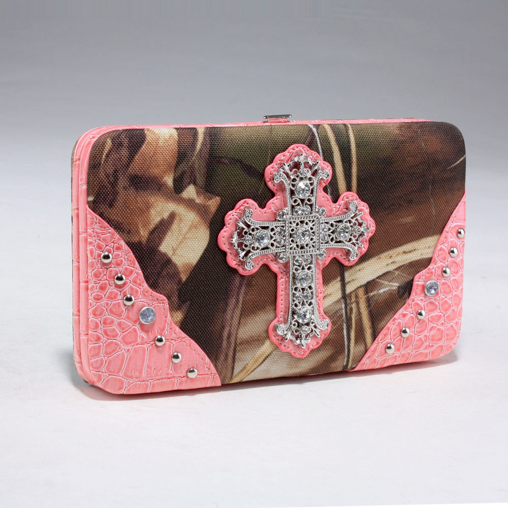 Realtree ® camouflage extra deep frame wallet w/ rhinestone cross