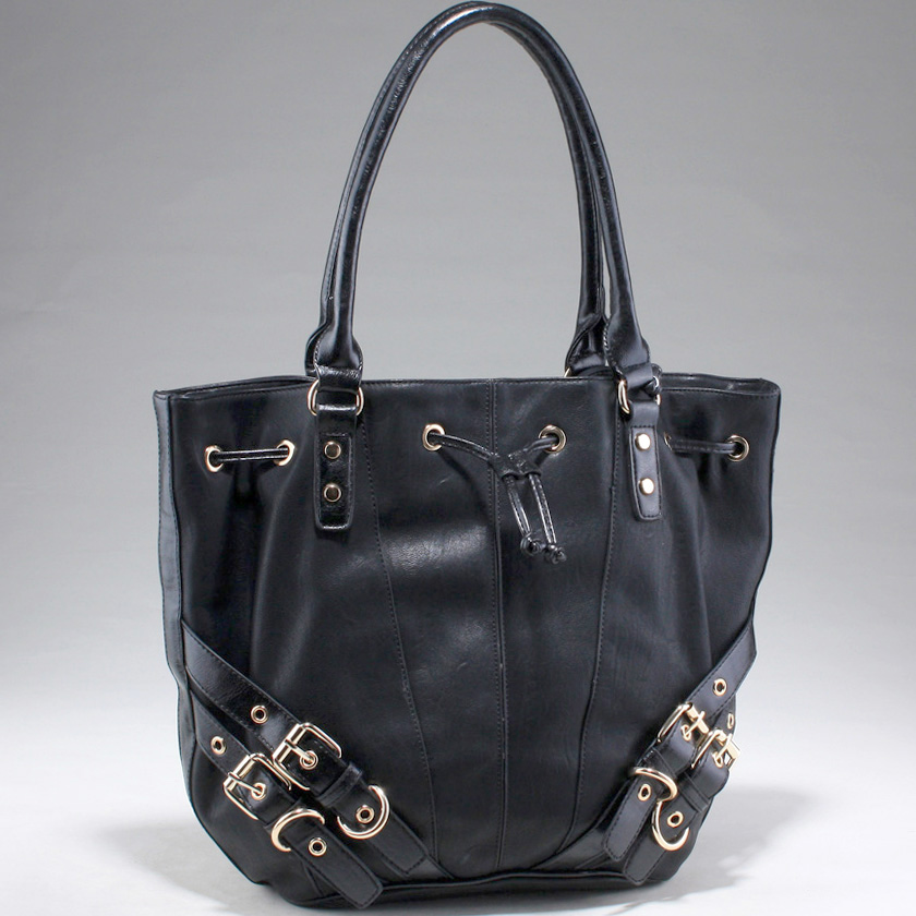 Fashion Drawstring Tote Bag with Belt Accents