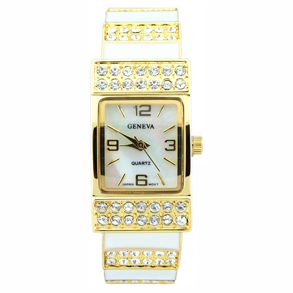 Classic Cuff Style Watch with Rhinestone Accents-White/Gold
