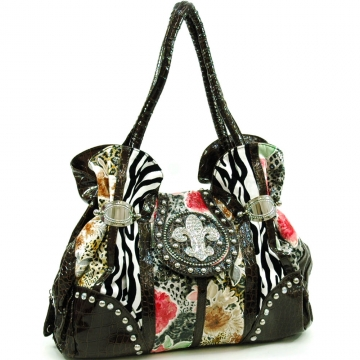 Ustyle Animal Print Satchel Handbag with Rrhinestone Fleur de Lis Decor-Multi/Coffee Trim