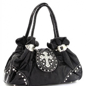 Ustyle Rhinestone Cross Frame Satchel Handbag-Black