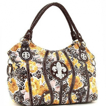Animal flower print hobo bag w/ rhinestone fleur de lis