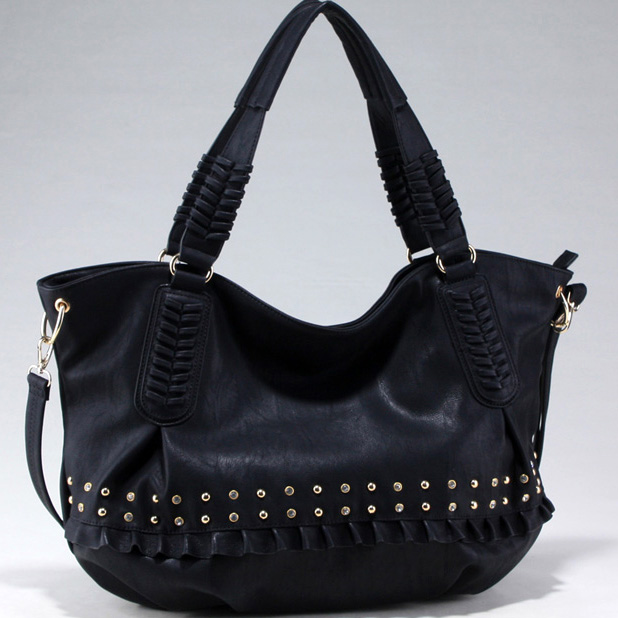 Large Studded Fashion Tote with Stiched and Ruffle Accents