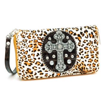 Leopard Print Rhinestone cross accent checkbook wallet with wrist band