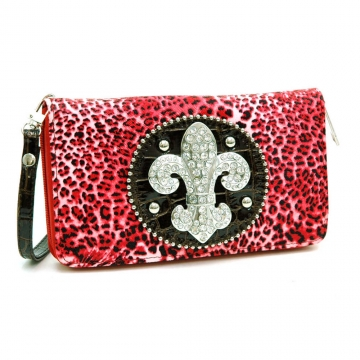Ustyle Rhinestone Fleur De Lis Sign Checkbook Wallet with Wristlet and Shoulder Strap-Red