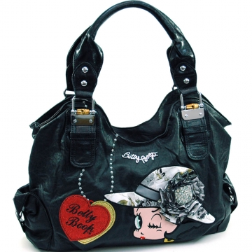 Large Betty Boop® shoulder bag w/ rhinestone brooch accent