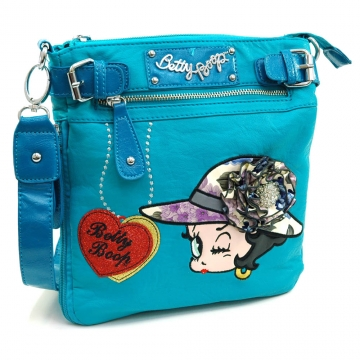 Betty Boop® Messenger Bag with Rhinestone Brooch and Belted Accents-Turquoise