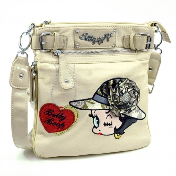 Betty Boop® Messenger Bag with Rhinestone Brooch and Belted Accents-Beige