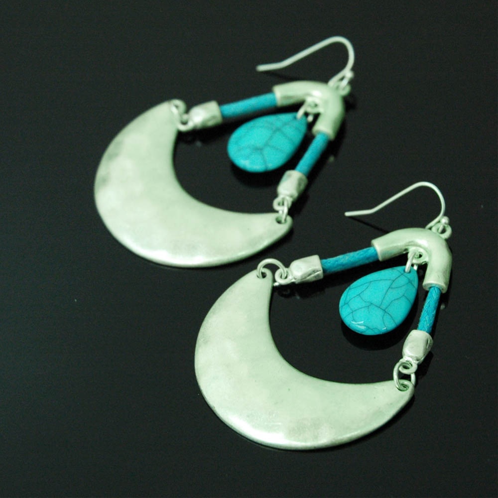 Stone Dangle Earrings Blue