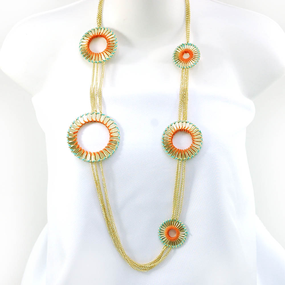 Sun style necklace and earring set