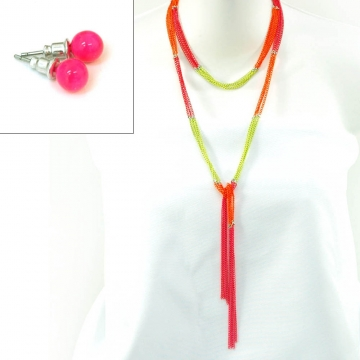Neon necklace w/ sphere earrings