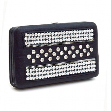 Rhinestone Studded Frame Wallet with Zipper Accents-Black