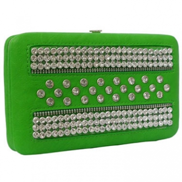 Rhinestone Studded Frame Wallet with Zipper Accents-Green
