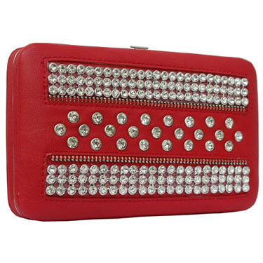 Rhinestone Studded Frame Wallet with Zipper Accents