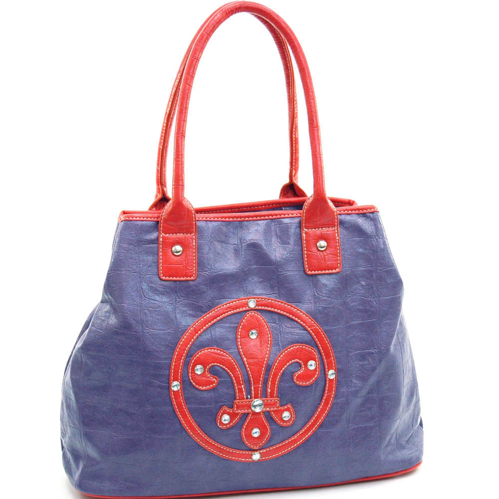 Fashion Oversized tote Bag with Rhinestone Accents - purple