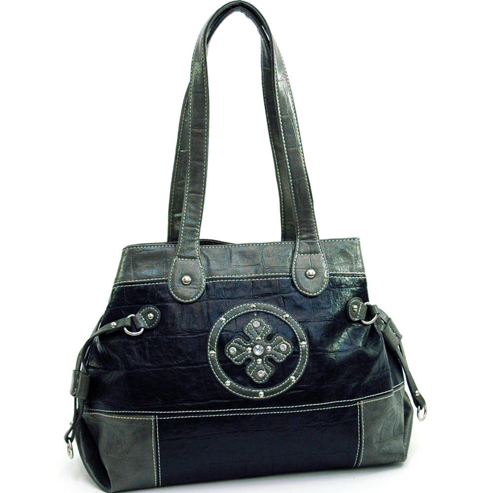 Fashion tote bag with clover design rhinestone accents - black