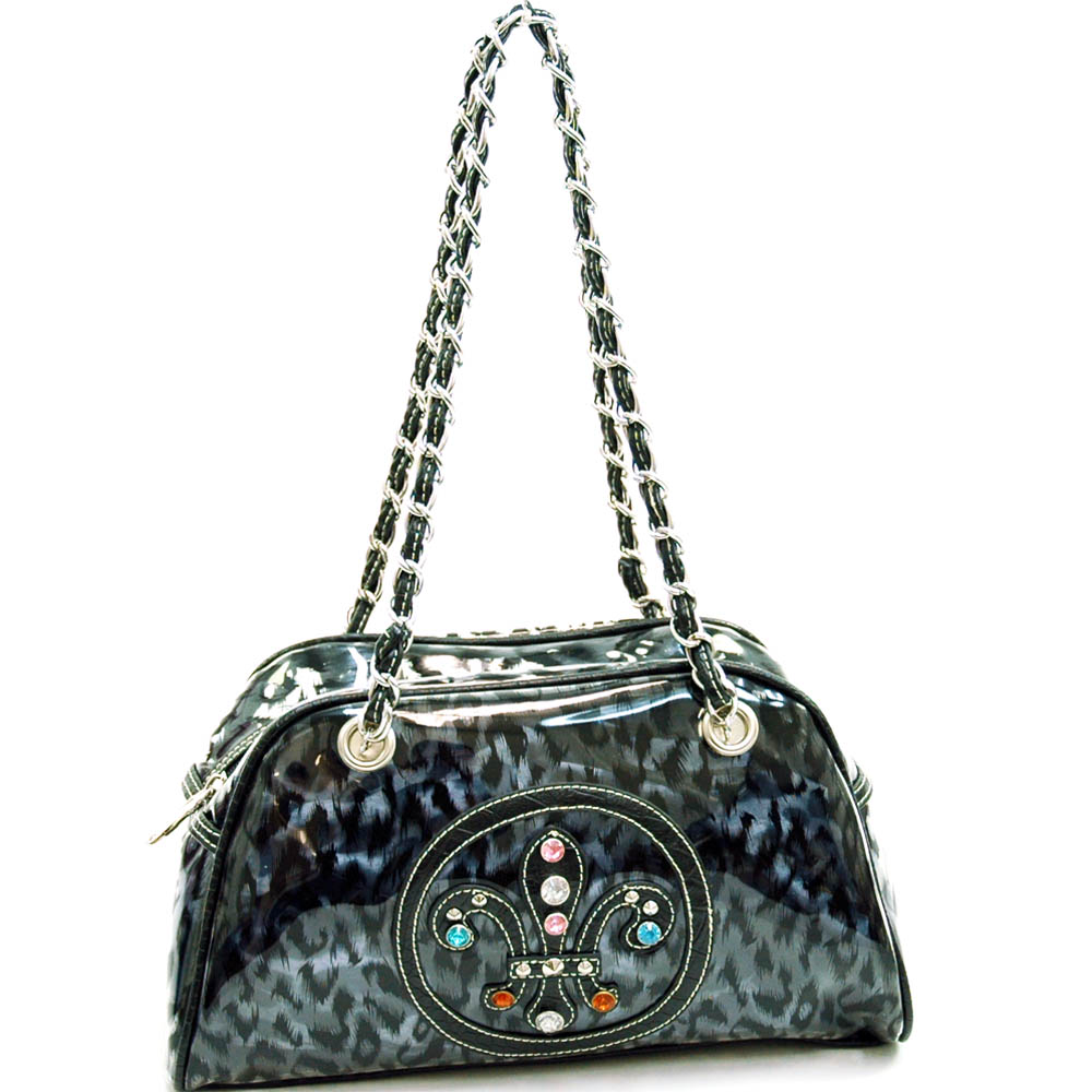 Fleur de Lis vinyl fashion shoulder bag w/ bonus drawstring bag-Black