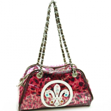 Fleur de Lis vinyl fashion shoulder bag w/ bonus drawstring bag-Red