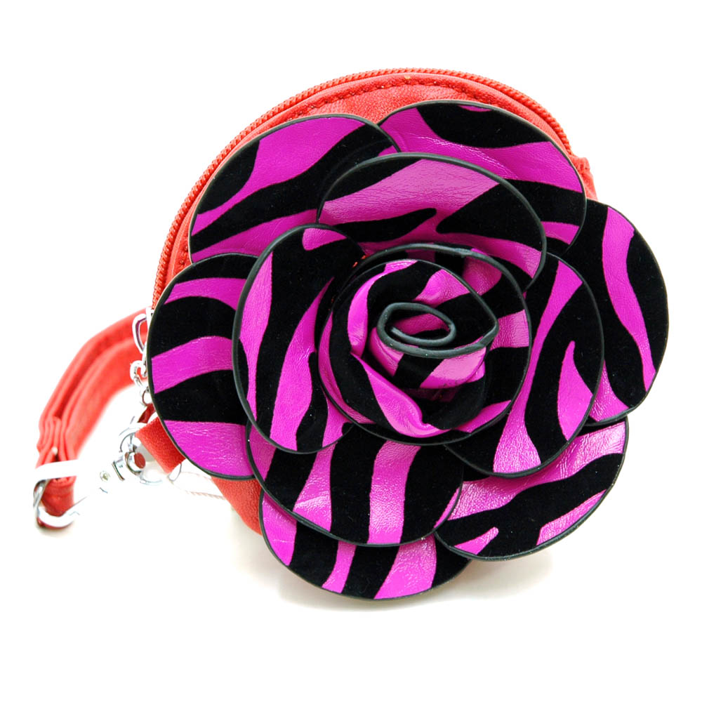 Floral rosette coin purse with leopard pattern and wristlet