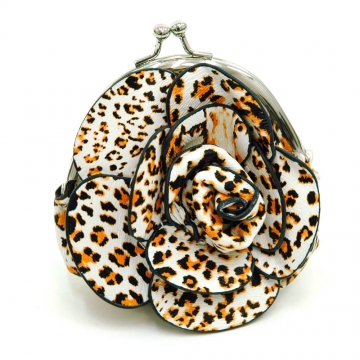 Ustyle Floral Rosette Coin Purse with Kiss-lock Closure-Mustard Leopard Print